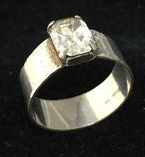Lovely Vintage Sterling Silver And Crystal Modernist Style Ring Signed Size 'N'