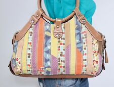 FOSSIL Med Multicolor Canvas Faux Leather Shoulder Hobo Tote Satchel Purse Bag