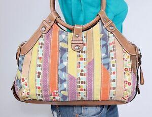 FOSSIL Med Multicolor Canvas Faux Leather Shoulder Hobo Tote Satchel Purse Bag