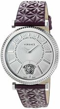 Versace Women's VQG010015  V-Helix Silver Dial Violet Leather Watch