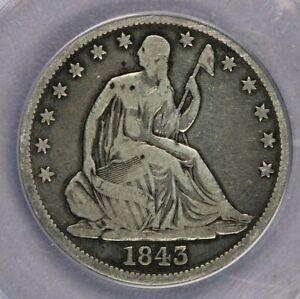 1843-P 1843 Seated Liberty Half Dollar ANACS VG10