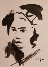"JOSE TRUJILLO ORIGINAL EXPRESSIONISM INK WASH Portrait 9X12"" BLACK & WHITE ART"