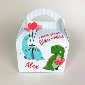 Valentines Boys Girls Dinosaur Personalised Treat Box Gift  Party Bag Advent Box