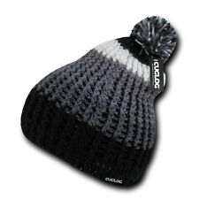 Black Gray White Warm Woven Winter Sweater Ski Pom Pom Skull Knit Beanie Cap Hat