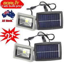 2x10W LED Solar powered spotlight floodlight garden fence Eave mount light decor
