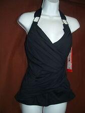 Spanx 2096 Whittle Waistline Draped Tankini Swim Top Size 14 in Black