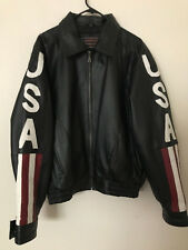 LUCKY LEATHER Co men USA American Flag LEATHER Bomber Jacket SZ M