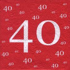 Servietten 40 rot, 20 St. 33x33 cm, Servietten Rubinhochzeit