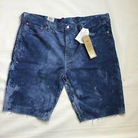 Men's LEVI'S 511 Slim Cutoff Ripped Raw Hem Denim Jean Shorts Size 42 NWT