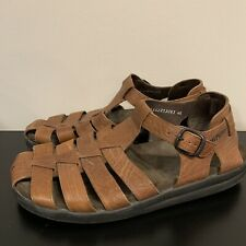 Mephisto Sam Mens 11 / EU 45 Brown Textured Leather Fisherman Roman Sandals MINT