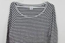 Victorias Secret Pink Large Striped Long Sleeve Shirt Womens Gray Top