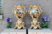 PAIR antique vieux paris porcelain romantic animal scene Vases 19thc