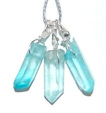 ONE Small Raw Aqua Bonded Aura Quartz Point Crystal Pendant Thymus Chakra