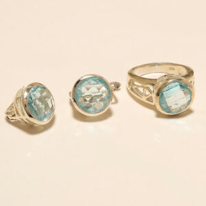 Natural Siberian Aquamarine Jewelry Set 925 Sterling Silver New Year Fine Gifts
