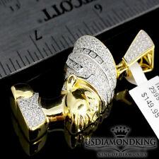 Ladies Yellow Gold Over .925 Sterling Silver Lab Diamond Nefertiti Pendant Charm