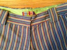 PETRO ZILLIA- NWT .striped trouser style shorts. SIZE 2 Cuffed Hem, Pockets