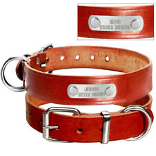 Brown Genuine Leather Dog Collar with Personalized Name Plate Free Engraved S-L