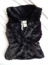 Kids Girls Black Faux Fur Sleeveless Vest Top by American Widgeon - Size 2