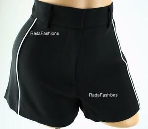 Victoria's Secret VS High Rise Piped Dress Shorts Summer Black White 2 XS