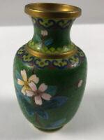 "Vintage 4"" Chinese Cloisonne VASE  Flowers On Green Background!"
