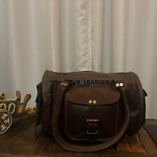 "12"" Women Genuine Leather Vintage Small Duffel Travel Gym Weekend Overnight Bag"