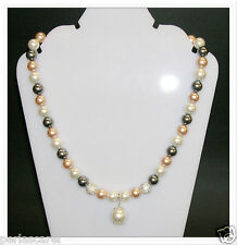 necklace PEARLS SHELL Tri-colour, Shamballa and CHARM 12mm. all Silver 925