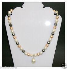 Collier de Perles Coquillage Tricolore,Shamballa et Charme 12mm. Tout Argent 925
