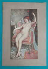 NUDE Young Woman with Fan Relaxing in Pink Lounge Chair - COLOR Antique Print