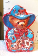 Tin Box-Cowgirl Bear-Red,White&Blue Outfit w/Red Handkerchief Print Inside & Out