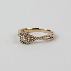 10k Rose Gold and Diamond Square Halo Twist Style Engagement Ring Size 7.5