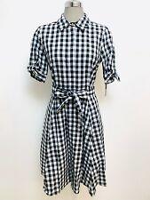 Calvin Klein NWT BLACK/WHITE Cotton Short Sleeve Checkered Print Dress,size 4,12