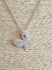 "Collar Chapado en Plata con Diamante Mariposa Colgante Gota De 8.5"""