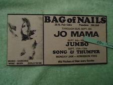 Jo Mama / Jumbo / Song & Thumper 1970 concert ad Bag of Nails PASADENA CA