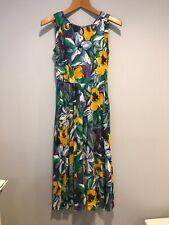 Vintage 90s Carole Little Long Maxi Dress Boho Watercolor Floral Cutout Petite 2