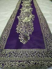 """BED-TABLE RUNNERS CLOTH ELEPHANT PURPLE-GOLD DECORATIVE HOME  74""""x 8"""""""