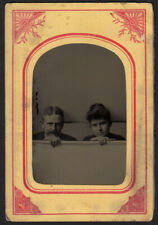 FREAKY MYSTERY PECULIAR COUPLE POKE HEADS uP FROM BACKDROP~ 1800s TINTYPE PHOTO