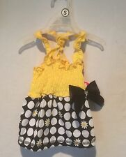 """Glamour to the Bone"""" DRESS Yellow, Black and White Polka Dots & Daisy Size Small"""