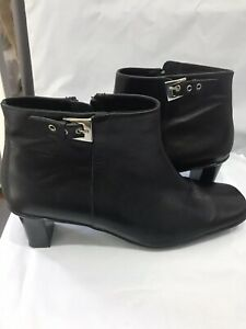 Black Leather Short Boots Silver Buckle  By Gino Pucci. Size 7 Soft Leather VGC