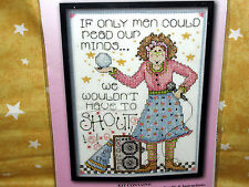"Counted cross stitch kit READ OUR MINDS Men Shout Joan Elliott 5"" x 7"" #9779"