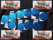 Qgirl set of 10 Plate Stamping Nail Art Manicure Flat For Nail Polish Konad