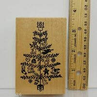 PSX Christmas Tree Rubber Stamp G372 Feather 1988 wood mounted 3.5 in USA
