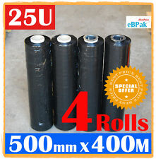 4 Rolls 500mm x 400m 25UM Black Hand Stretch Film for Pallet Carton Shrink Wrap
