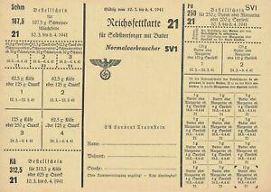 Stamp Germany Revenue Sheet WWII 1941 SV1 21 Butter Ration MNH