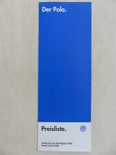 VW Polo 16V Colour Concept - Preisliste MJ 1999 - Prospekt Brochure 03.1998