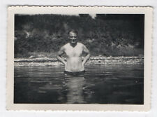 PHOTO ANCIENNE Homme Man Gay Interest 1952 Portrait Maillot de bain Torse nu
