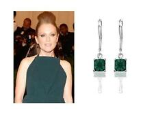 Set Cz Lever-back Drop Dangle Earrings! 1.6 Ct Eme