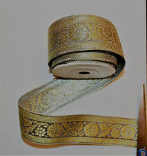 40mm gold jacquard embroidered ribbon applique motif trimming decor