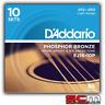 D'Addario EJ16-10P TEN Pack Phosphor Bronze Light Acoustic Strings 12-53 EJ-16