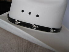 Leather Hat Band #LC-22H - Running Horses Conchos & Buckle - Black