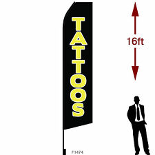 """16ft Outdoor Advertising Flag with Pole Set & Ground Stake. """"TATTOOS"""""""